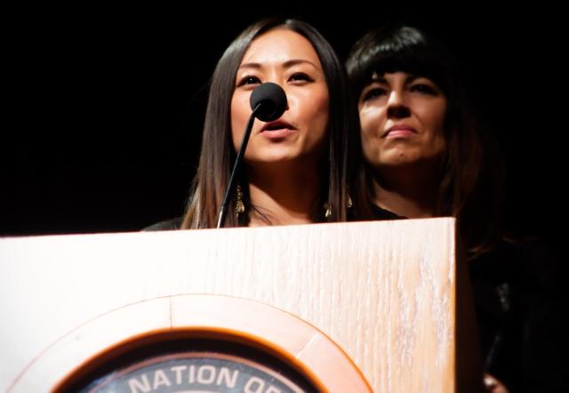 Chinese star Ayi Jihu speaks at the NAMA Awards with Native Designer Angela DeMontigny and Native Star Terri Lynn