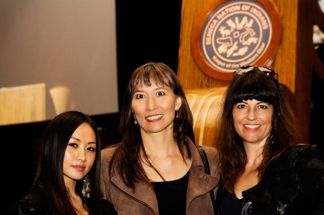 Ayi Jihu with Haida Native singing star Terri Lynn and Top Native Fashion designer and stylist Angela DeMontigny at the NAMA awards.