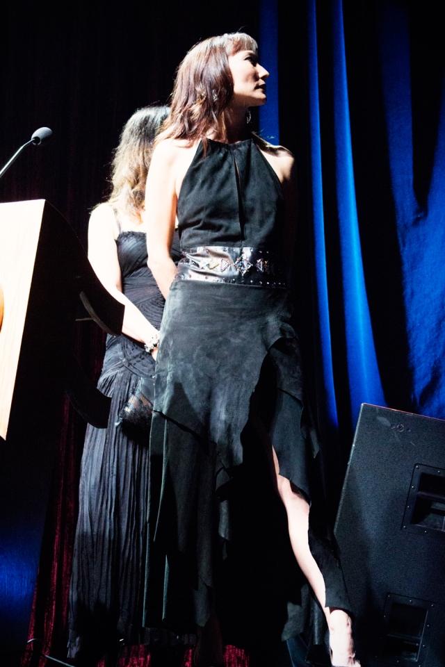Native singing Star Terri Lynn presents an award at NAMA's with Ayi Jihu and Angela DeMontigny