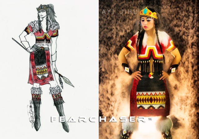 world exclusive first look at the new Ayi Jihu FearChaser™ outfit designed by Angela DeMontigny of Young Native Fashion™