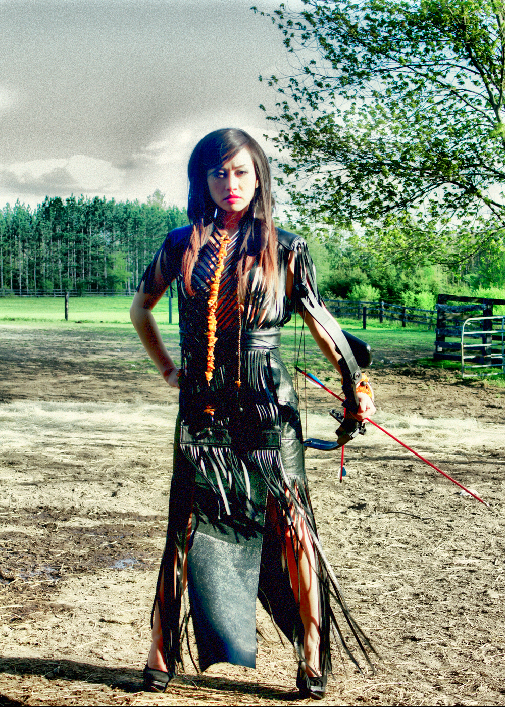 Chinese Star Ayi Jihu models the Angela Demontigny Young Native™ look styled like Tonto from Lone Ranger 2013