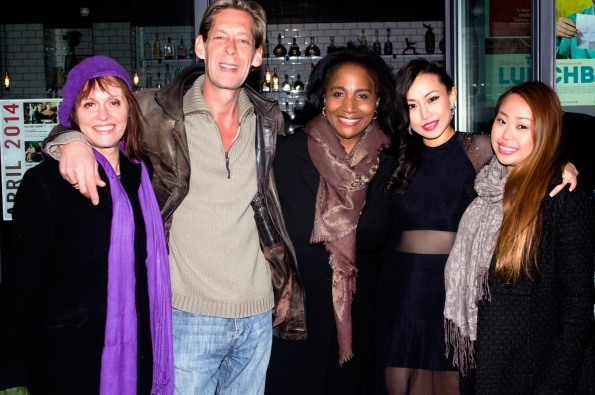 Ayi Jihu with leading man Adam Lewis, Celebrity pop star Pearly gates, and others at the screening of her first film in london