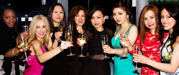 Ayi Jihu celebrates with Friends, fans and supporters after the screening of her first film