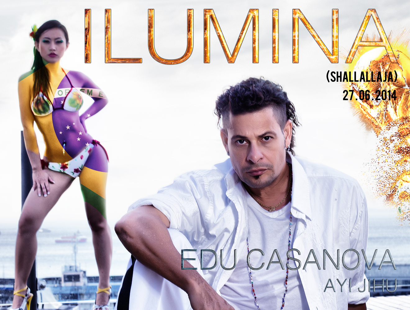 Edu Casanova with Chinese star Ayi JIhu world cup Anthem Ilumina