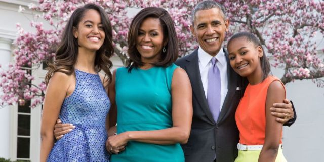 President Barrack Obama with his family