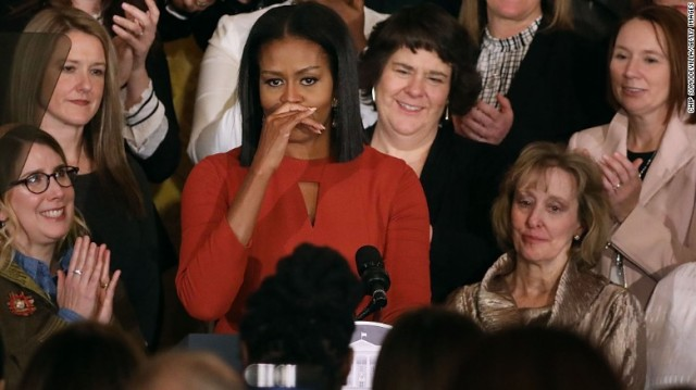 First Lady Michele Obama gives her final speech.