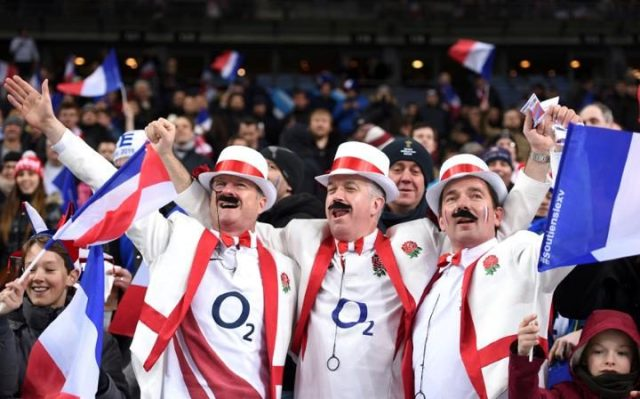 England Rugby fans sing 'Swing Low' at the games.