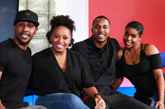 Tee Nemeis (far left) promotes Birmingham Inspiration Awards on TV with singer Stephan Dante and presenters Taffy and Aaron