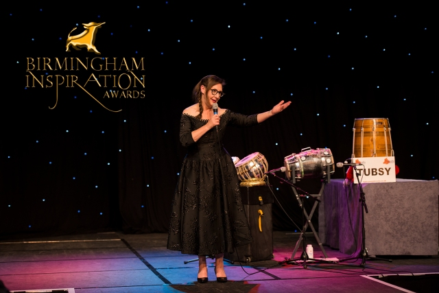Pauline Mclynn speaks on behalf of Greyhound protection Charity at the Birmingham Inspiration Awards