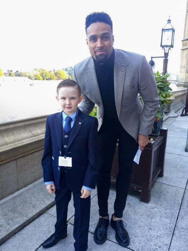 Tyler ford with Ashley Banjo at the Palace of Westminster where he picks up his BCA Medal today